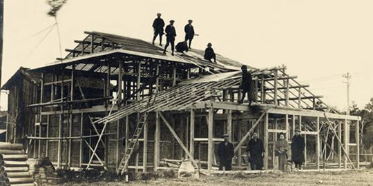 創業時の上棟の写真